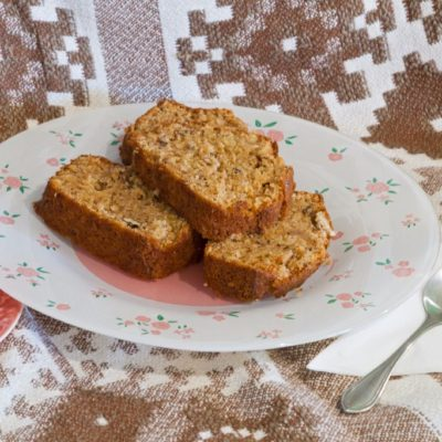 Pear bread with walnuts and raisins